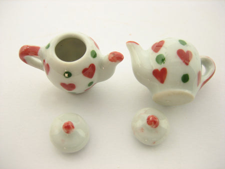 4 Coffee Teapot Red Heart Green Spot Paint Dollhouse Miniature Ceramic 13237
