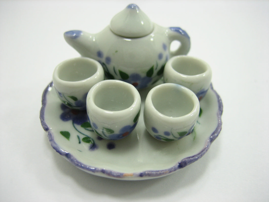 Dollhouse Miniature Ceramic Lilac Flower Paint Tea Cup Set Tea Pot Supply 13245