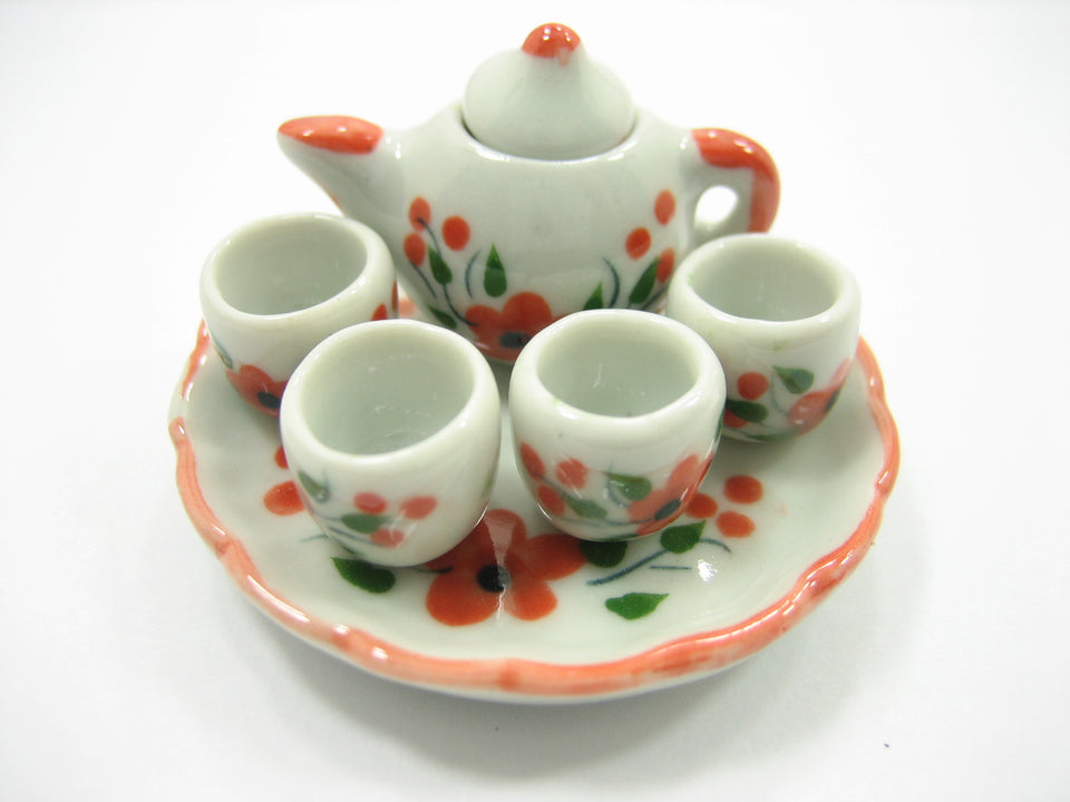 Dollhouse Miniature Ceramic Orange Flower Orchid Paint Tea Cup Set Tea Pot 13246