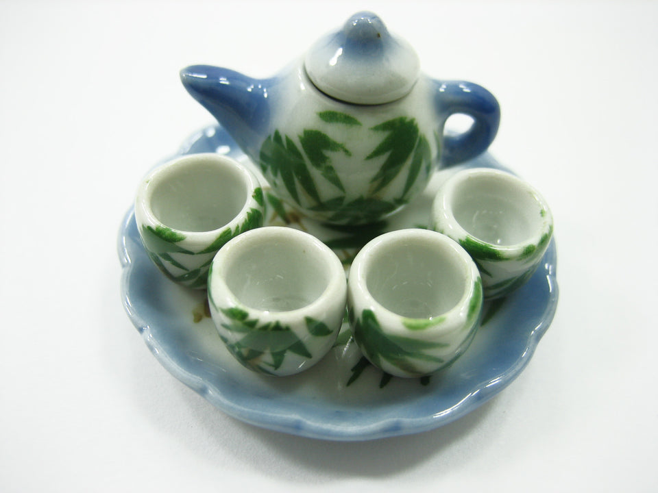 Dollhouse Miniature Ceramic Japanese Style Paint Tea Cup Tea Pot Supply 13250
