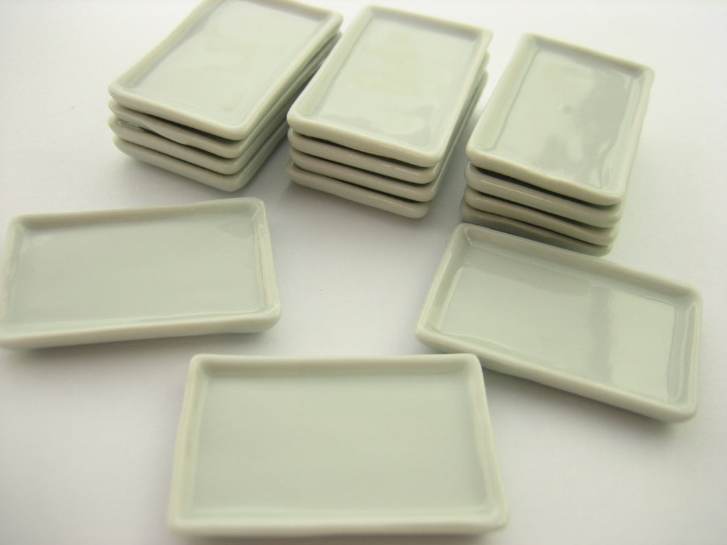 25x40mm White Rectangle Large Plate Dish Dollhouse Miniatures Ceramic