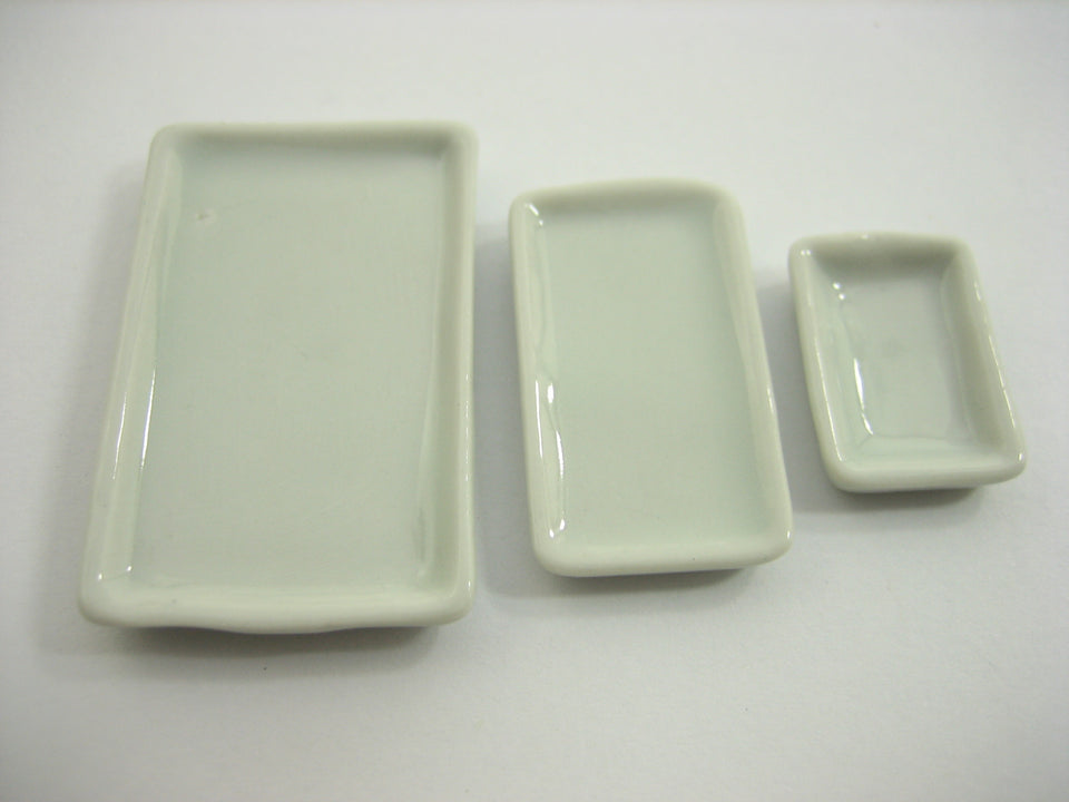 Dollhouse Miniature 15 Mixed Rectangle Ceramic Plate S-M-L  Dinner Supply 13254