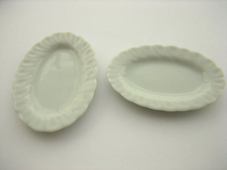 25x35mm Of White Oval Plate Dish Dollhouse Miniatures Ceramic Supply