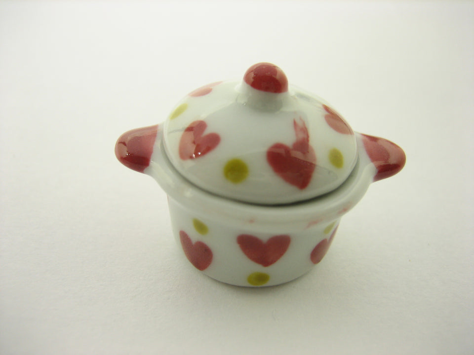 Kitchen Ceramic Pot Red Heart Paint Dollhouse Miniatures Dinner Supply 13270