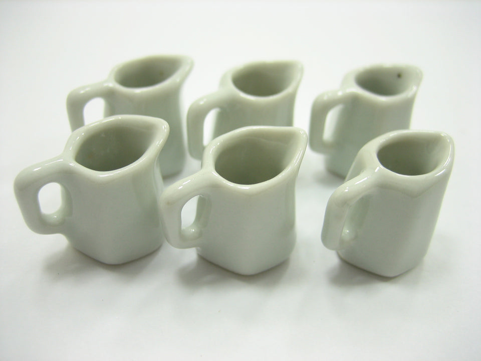 6 Mini White Sided Pitcher Dollhouse Miniatures Ceramic Water Jug Supply 13271