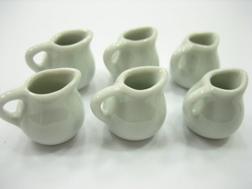 6 Mini White Water Jug Milk Jug Dollhouse Miniatures Ceramic Kitchenware 13272