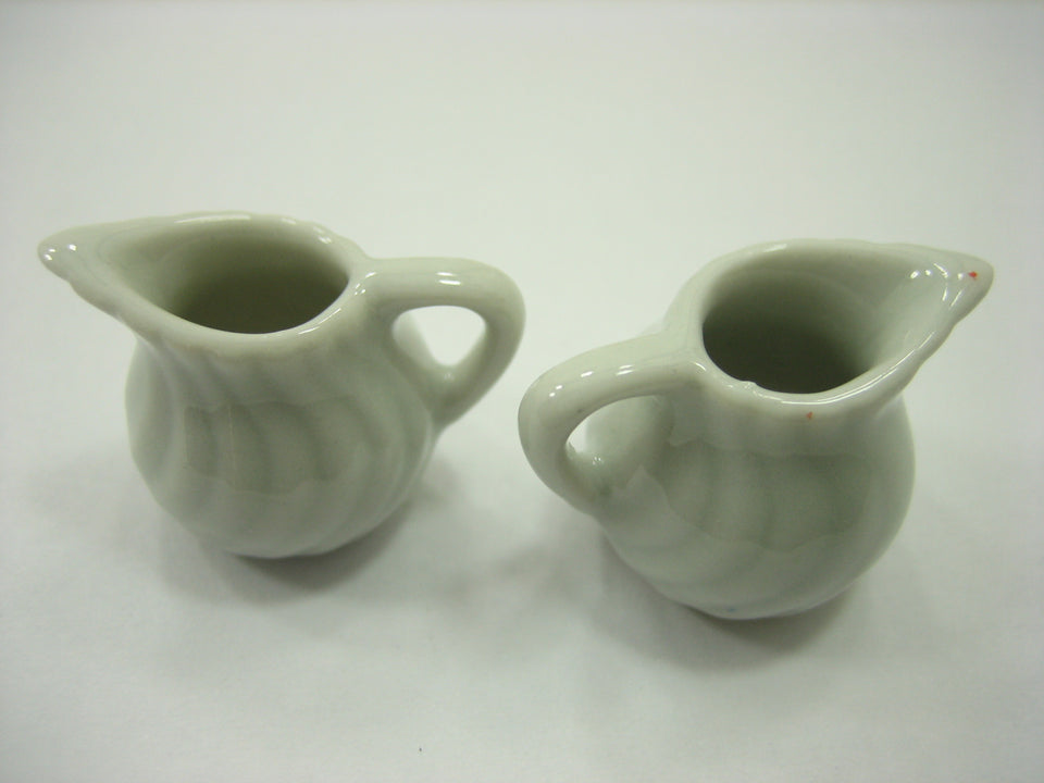 6 Mini White Milk Jug Dollhouse Miniatures Ceramic Kitchen Dinner Supply 13273