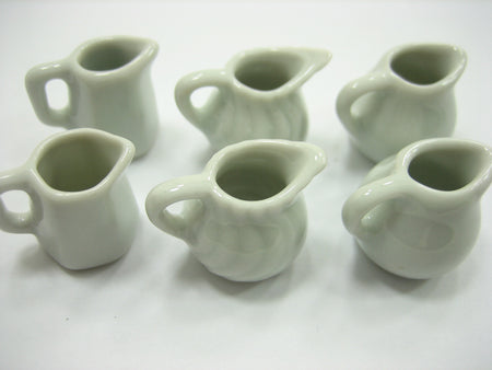 6 Mixed White  Water Jug Milk Jug Dollhouse Miniature Ceramic Kitchen 13274