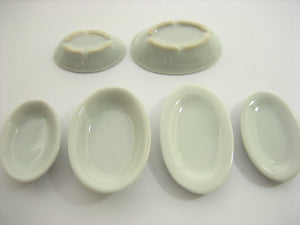Mixed 20 Oval Plate Dishes  Bowls White Dollhouse Miniatures Ceramic Set 13337