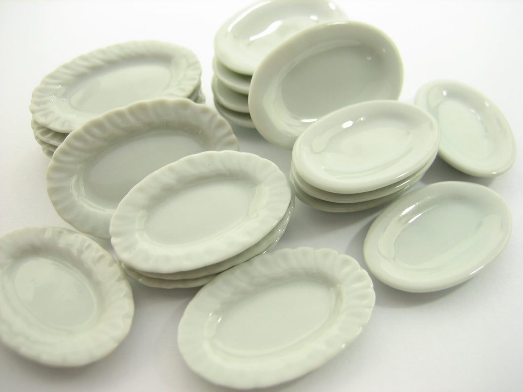 Mixed 20 Oval Plate Dishes White Dollhouse Miniatures Ceramic Dinner Set 13342