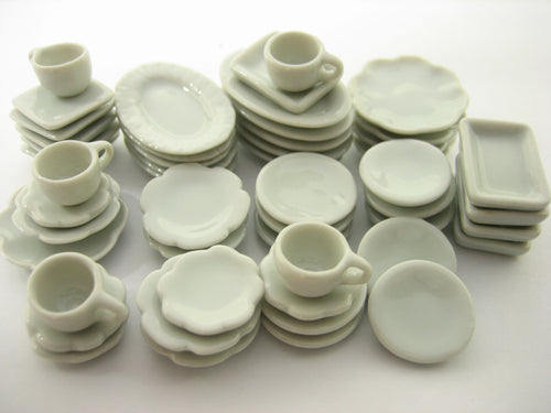 50 Mixed White Ceramic Plate Dish Coffee Cup Dollhouse Miniature Supply 13344