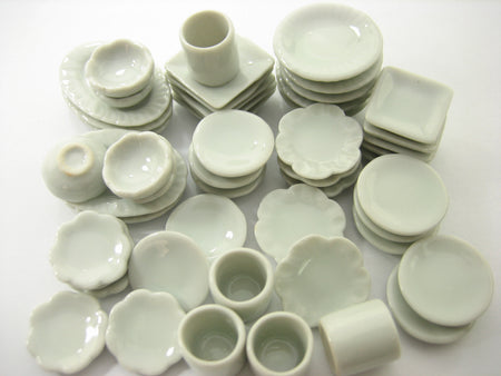 50 Mixed White Ceramic Plate Dish Bowl Coffee Cup Mug Dollhouse Miniature 13346