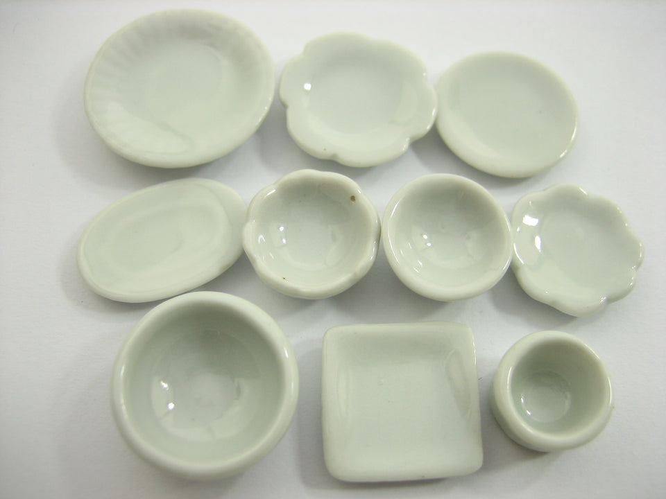 Set 50 Mixed White Ceramic Plate Dish Bowl Dollhouse Miniature Kitchen 13347