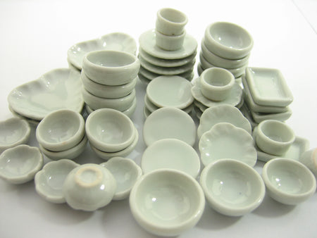 Set 50 Mixed White Ceramic Plate Dish Bowl Dollhouse Miniature Kitchen 13349