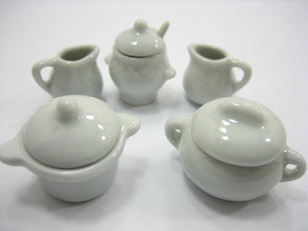 Set Mixed Assorted 5 White Ceramic Kitchenware Dollhouse Miniature Pot Jug 13351