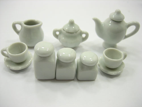 Mixed 10 White Ceramic Coffee Tea Time Set Dollhouse Miniature Kitchenware 13352