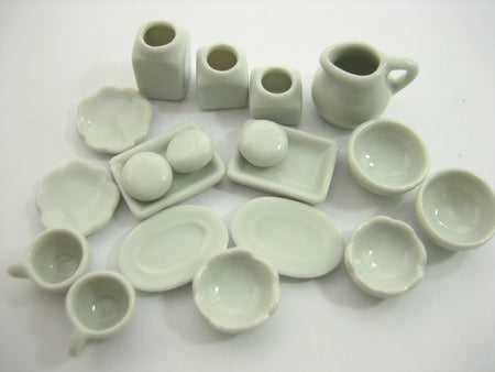 Mixed 16 White Coffee Tea Set Plate Bowl Dollhouse Miniatures Ceramic Set 13353