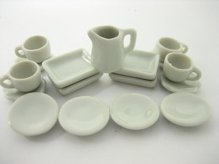Mixed 17 White Coffee Tea Set Plate Bowl Dollhouse Miniatures Ceramic Set 13354