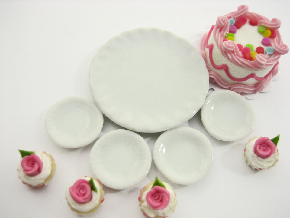 Dollhouse Miniatures Food Cake & Rose Cupcake Ceramic Plate Supply Set 13377