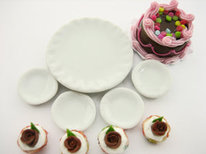 Dollhouse Miniatures Food Chocolate Cake & Rose Cupcake Ceramic Plate Set 13378