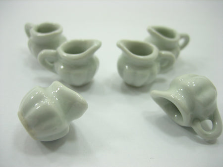 Dollhouse Miniature Kitchen Ceramic 6 White Jug Pot Coffee Tea Set 13402