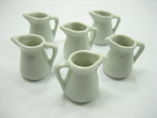 6 Mini White Sided Pitcher Dollhouse Miniatures Ceramic Water Jug Supply 13403
