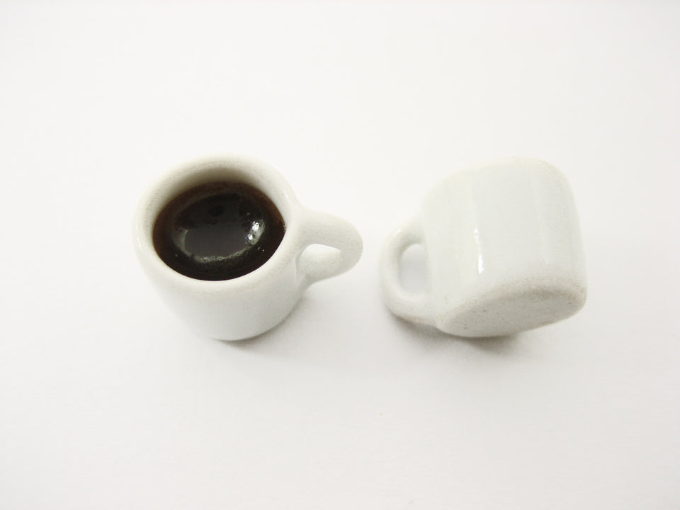 Dollhouse Food Miniature Drink Beverage 9 Black Coffee Ceramic Cups Mug #M 13413