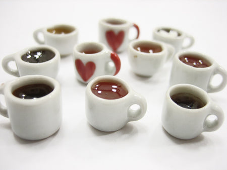 Mixed 10 Cups Hot Black Coffee Tea Dolls House Miniatures Food Beverage #S 13441