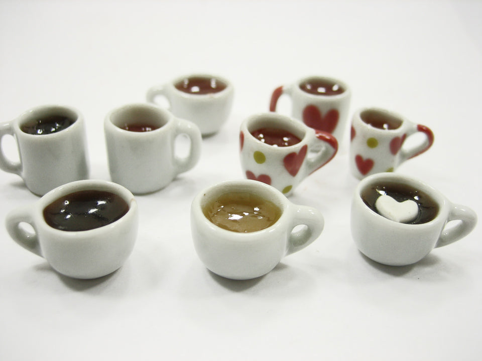 Mixed 9 Cups Hot Black Coffee Tea Dolls House Miniatures Food Beverage #M 13442