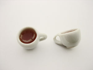 Miniature Drink Beverage White Tea Mug Cup Ceramic Size S Dollhouse Food