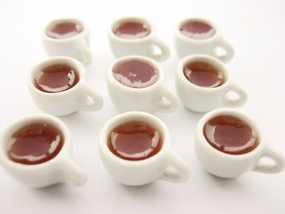 Miniature Drink Beverage White Tea Mug Cup Ceramic Size S Dollhouse Food Charms