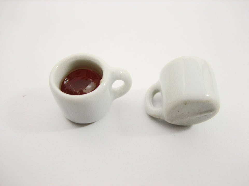 Miniature Drink Beverage White Tea Ceramic Mug Cup Size M Dollhouse Food