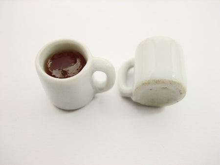Miniature Drink Beverage White Tea Mug Cup Ceramic Size L Dollhouse Food