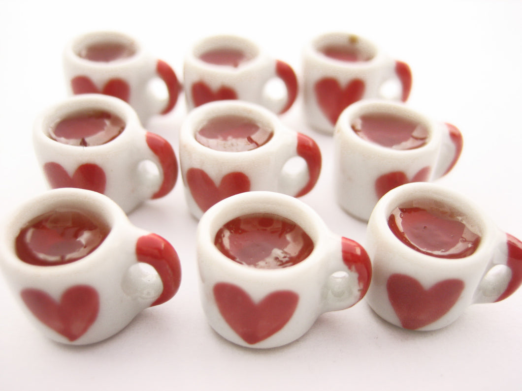 Miniature Drink Beverage Heart Tea Mug Cup Ceramic Size S Dollhouse Food