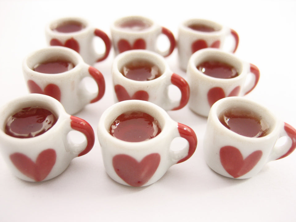 Miniature Drink Beverage Heart Tea Ceramic Mug Cup Size M Dollhouse Food