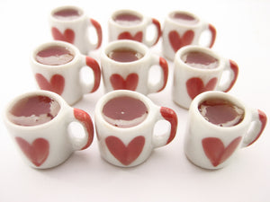 Miniature Drink Beverage Heart Tea Mug Cup Ceramic Size L Dollhouse Food