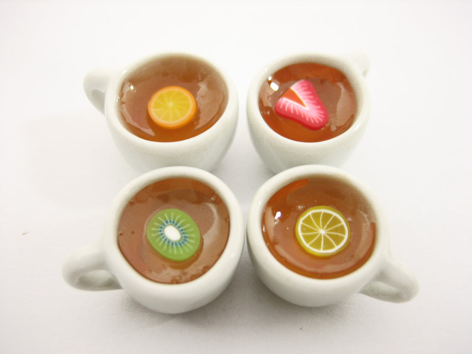 Set Cups Of Flavored Fruit Teas Dollhouse Miniatures Food Drink #M