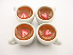 Set Cups Strawberry Tea Dollhouse Miniatures Food Drink Beverage #M