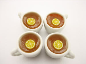 Set Cups Hot Lemon Tea Dollhouse Miniatures Food Drink Beverage #M