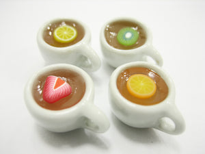 Set Cups Of Flavored Fruit Teas Dollhouse Miniatures Food Drink #S