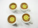 Set Cups Hot Lemon Tea Dollhouse Miniatures Food Drink Beverage #S