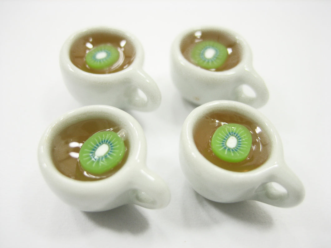 Set Cups Of Hot Kiwi Tea Dollhouse Miniature Food Drink Beverage #S