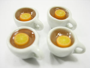 Set Cups Hot Orange Fruit Tea Dollhouse Miniatures Food Beverage #S