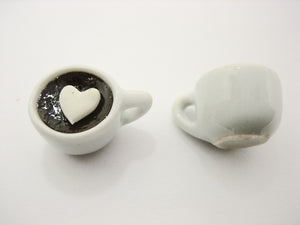 Set Cups Hot Black Coffee Dollhouse Miniatures Food Beverage #S