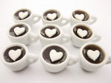 Set Cups Hot Black Coffee Dolls House Miniatures Food Beverage #M Charms
