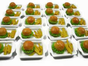 Dollhouse Miniature Food Ceramic Tray Hamburger French Fries Fast Food Miniature Supply Charms Dollhouse Food Dollhouse Supply