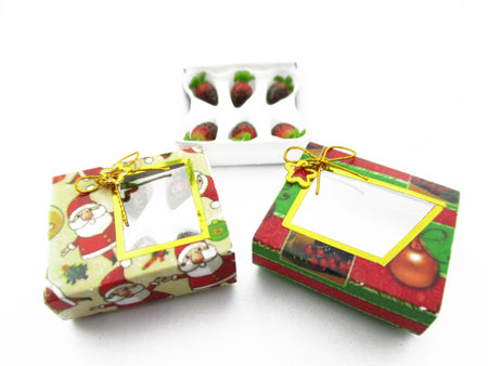 Dollhouse Miniatures 2 Paper Boxes Chocolate Strawberry Dessert Christmas 13625