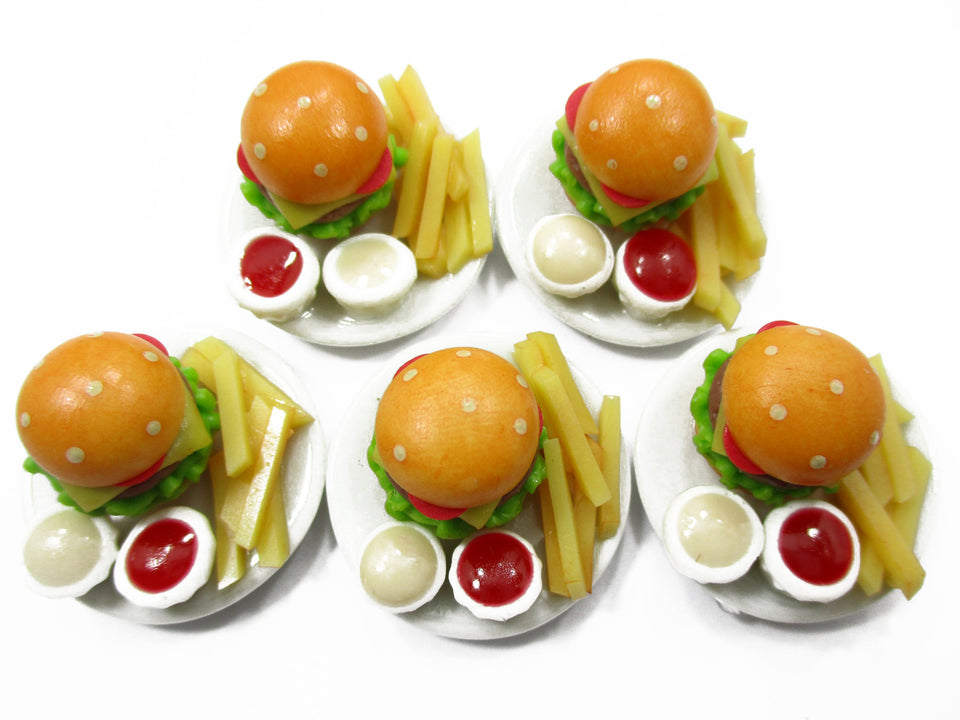Dollhouse Miniatures Fast Food 5 Cheese Burgers French Fries 2.5cm Supply 13638