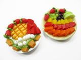 Dollhouse Miniature 2 Plates Of Mixed Fresh Fruit Ceramic Plate Supply 13681