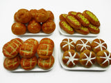 Dollhouse Miniatures Food 4 Mixed Bread On Plate Barbie Handmade Supply 13688